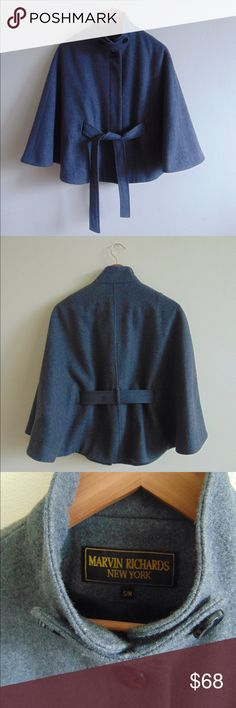 Marvin Richards New York Coat This is a beautiful and fashionable high-end coat! It is a cape-style coat with a belt that gives any outfit a classic look, especially looks great with skinny jeans and high heels or boots. Wool, Cashmere and Nylon outer materials and polyester inner lining for comfortable wear. Marvin Richards New York Jackets & Coats Capes