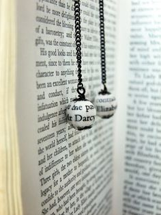 Pride and Prejudice book page bead earrings by NelliJoy on Etsy, £6.00