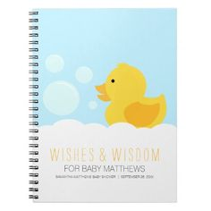 Rubber Ducky Yellow Neutral Baby Shower Guest Book Notebook