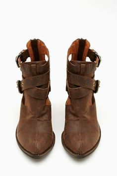 Everwell Ankle Boot - Distressed brown leather ankle boots featuring strappy detailing and bronze buckles. Chunky heel, cutout detailing. Fully lined interior, zip closure at back. By Jeffrey Campbell.