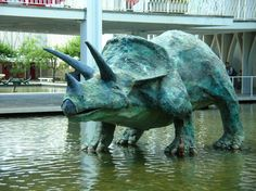 Triceratop in the Pacific Science Center courtyard.