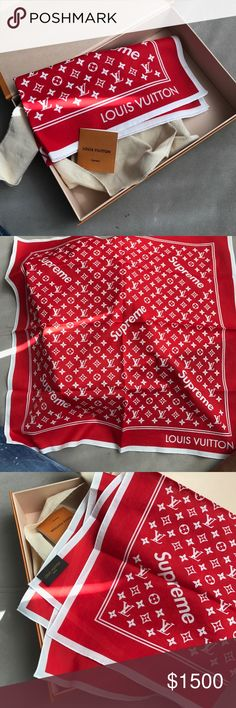 Supreme Louis Vuitton Bandana Red From Collaboration New With