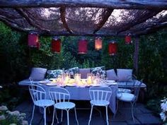Nice idea for a casual dinner party. Outdoor Parties, Outdoor Entertaining, Casual Dinner Parties, Outdoor Dining, Outdoor Decor, Outdoor Ideas, Backyard, Patio, Party Entertainment