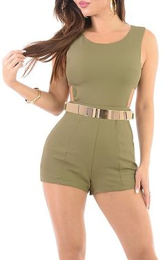 Cash Call- Green Sexy Belted Romper