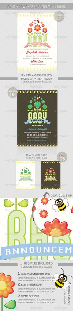 Boy/Girl Baby Shower/Announcement Card  Flower — Photoshop PSD #baby #plant • Available here → https://graphicriver.net/item/boygirl-baby-showerannouncement-card-flower/902991?ref=pxcr