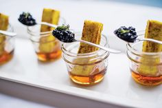 French toast sticks with bourbon-infused maple syrup and blueberry thyme jam, by L-Eat Catering in Toronto. Photo: Emma Mcintyre for BizBash