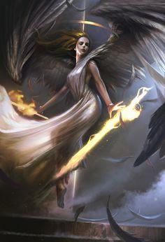 Seraphim by Dong geon Son on Artstation. Dark Fantasy Art, Fantasy Artwork, Fantasy Art Angels, Fantasy Art Women, Fantasy Kunst, Fantasy Girl, Beautiful Fantasy Art, Angel Artwork, Angel Warrior