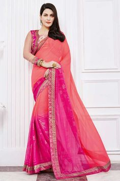Pink georgette saree with cream and pink silk blouse.  Embellished with embroidered, zari and stone.  Saree comes with round neck blouse.  http://www.andaazfashion.com/womens/sarees/fabric/georgette-saree