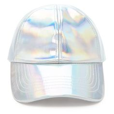 Forever21 Iridescent Baseball Cap ($13) ❤ liked on Polyvore featuring accessories, hats, silver, leather hat, baseball cap, baseball cap hats, baseball hat and leather ball cap