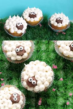 easy lamb cupcakes Super simple lamb cupcakes made with Reese's peanut butter cups and frosting. A fun treat for Easter. Lamb Cupcakes, Sheep Cupcakes, Easter Cupcakes, Christmas Cupcakes, Fun Cupcakes, Cupcake Cakes, Animal Cupcakes, Banana Cupcakes, Gourmet Cupcakes