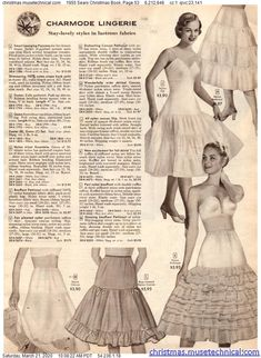 1955 Sears Christmas Book, Page 53 - Christmas Catalogs & Holiday Wishbooks Christmas Catalogs, Christmas Books, Big Skirts, Vintage Style Dresses, Vintage Lingerie, Teen Fashion, Vintage Fashion, Holiday, Petticoats