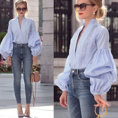 Sexy Women Summer Autumn Top Long puff sleeve Top Donna Ladies plaid B – geekbuyig Mode Outfits, Casual Outfits, Fashion Outfits, Womens Fashion, Casual Shirt, Fashion Ideas, Fashion Trends, Blouse Styles, Blouse Designs