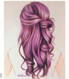 Girl With Pink Hair, Purple Hair, Step By Step Hairstyles, Cool Hairstyles, Hair Dye Colors, Hair Color, Girl Hair Drawing, Hair In The Wind, Hair Illustration