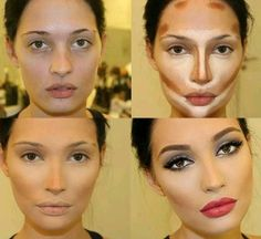 i cannot stand contouring like this!! i dont understand why women want to completely change how they look. whatever happened to using makeup to ENHANCE natural beauty? now people are trying to complete plastic surgery miracles with makeup... i dont get it