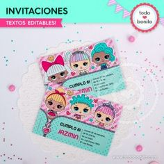 LOL: tarjeta invitación Lol Dolls, My Baby Girl, Holidays And Events, Alessi, Ideas Para, Birthday, Party, Anime, Diy