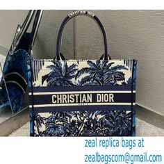 Dior Small Book Tote Bag in Palms Embroidery Blue 2021