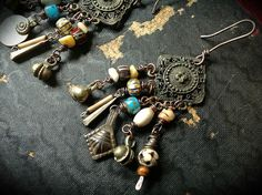 Gypsy dangle earrings with tribal bead dangles in bone, glass and Kuchi