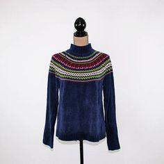 90s Chenille Sweater Women Medium Blue Nordic Pullover Winter