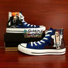 ece566289888c2 High Top Converse Shoes Bleach Hand Painted Canvas Sneaker for Men