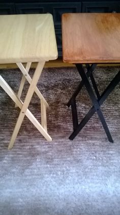 Redo It Yourself Inspirations : A Day at Home with Quickies Transforming TV Trays Painted Tv Trays, Wooden Tv Trays, Tv Tray Makeover, Furniture Makeover, Furniture Update, Repurposed Furniture, Painted Furniture, Refinished Furniture, Repurposed Wood