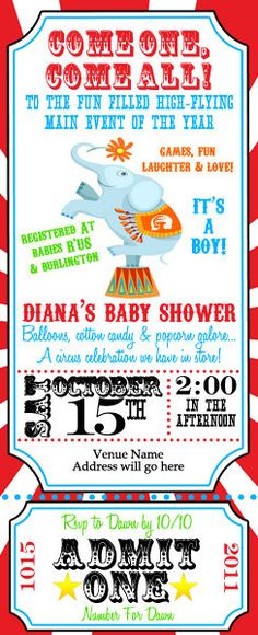 Circus Invite Invitation Digital File by digitalparties on Etsy, $6.00