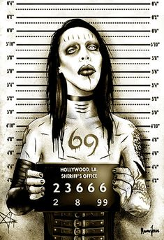 MM Shock Rocker Marilyn Manson Mugshot by Marcus Jones Screaming Demons Canvas Giclee Art Print Marilyn Manson, Arte Horror, Horror Art, Rocknroll, Art Ancien, Hard Metal, Creepy Art, Creepy Drawings, Scary