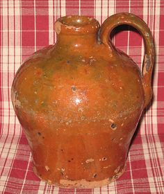 "Scarce Small 19th Century 6"" New England Ovoid Bulbous Redware Jug in Orange Green Glaze | eBay"