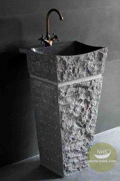 Online Shop Natural Stone Sink Pedestal Magnificent Granite Stone Pedestal Sink Highly polished interior basin with chiseled pedestal sink