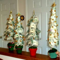 Diy money christmas tree creative cash gift tutorial christmas friend i made these money trees for christmas gifts found the idea here but we added decorations to the tree and little presents under it negle Choice Image