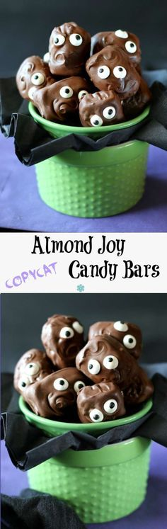 Copycat Almond Joy Candy Bars taste exactly like the original. Easy to make and the no-bake middle treat gets dunked in chocolate. Add candy eyes for fun!.