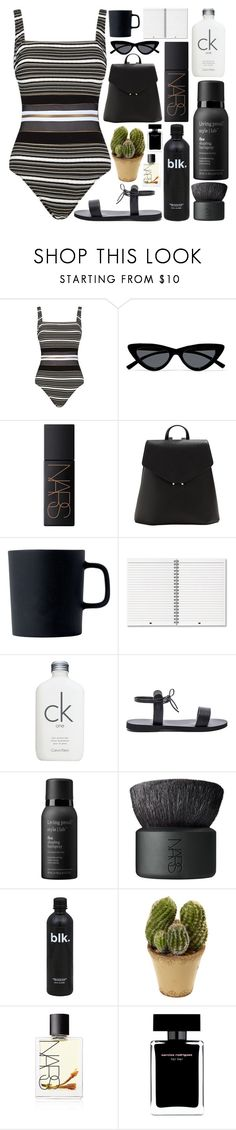 """""""dont let me down"""" by sophiielin ❤ liked on Polyvore featuring Gottex, Le Specs, NARS Cosmetics, MANGO, Royal Doulton, Calvin Klein, Isapera, Living Proof, Nearly Natural and Narciso Rodriguez"""