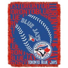 """Blue Jays Official Major League Baseball, """"""""double Play"""""""" Triple Woven Jacquard Throw By The Northwest Company Major League Baseball Teams, Mlb Teams, Mlb Blue Jays, Double Play, Weaving Process, Toronto Blue Jays, Bedding, Products, Fringes"""