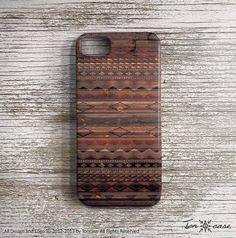 Tribal iPhone 4 case - iPhone 4s case, iPhone 5 case, High quality 3D printing, geometric, native - tribal pattern on wood 2 (c158). $24.99, via Etsy.