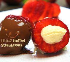 Cheesecake stuffed Strawberries, perfect holiday dessert.