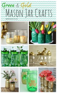 Green & Gold Mason Jars | Mason Jar Craft Ideas for St. Patrick's Day @ Mason Jar Crafts Love