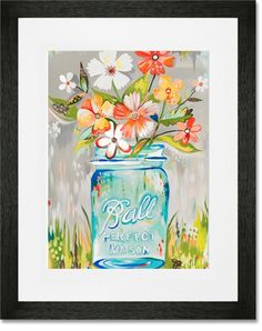 Decorate your child's room in style with the Ball Perfect Mason Jar Framed Art Print from Oopsy Daisy.  This contemporary framed art print features a delightful combination of color and style