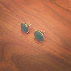 Kate Spade Gumdrop Earrings Kate Spade post, teal gumdrop earrings. Worn once for a wedding, as seen in the picture. Perfect condition! kate spade Jewelry Earrings