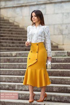 9e47cfb75 Saia evangélica amarela #moda #modaevangelica #modacristã #modainverno  #kaulymodaevangelica #saiamidi #