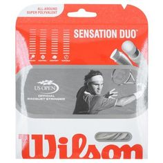 Wilson Sensation Duo Hybrid Tennis String by Wilson. $9.95. New Wilson Duo Hybrids combine Enduro Pro monofilaments with Wilsons best performing strings. This produces perfectly matched performance options with added durability and control.Benefits: Superior balance of Senasation multifilament synthetic gut playability and monofilament durability demanded by all court players.Composition: Sensation 16 gauge/Enduro Pro 17 gauge (Enduro Pro in mains/Sensation in crosses f...