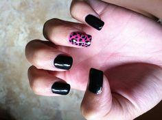 Pink, black, cheetah nails