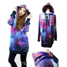 DIY Cosmic Hoodie I want to do- go to http://snapguide.com/guides/make-a-diy-galaxy-print-tshirt/ for a tutorial on how to DIY Cosmic clothing :D
