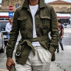 for this look with the Hemingway safari jacket Der Gentleman, Gentleman Style, Mode Safari, Style Brut, Military Fashion, Mens Fashion, Cardigan En Maille, Mens Tailor, Dandy Style