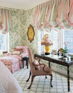 Elegant pink and green bedroom Love the striped balloon valances, carpet, & desk chair