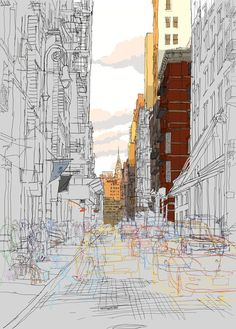 Rupert Van Wyk - Busy brick street, late evening, looking towards the Chrysler building, NYC