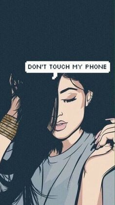 kylie jenner, phone, wallpaper, words, my phone, don't touch