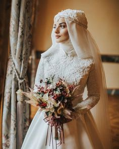 """Muslim designers make the best """"princess bride"""" gowns! Imagine this with a crown, or a circlet, or a tiara. ❤️ -/- Fashionable Muslim Clothing for All Women ./ - Accessories of Women Muslimah Wedding Dress, Muslim Wedding Dresses, Muslim Brides, Muslim Dress, Bridal Dresses, Wedding Gowns, Bridesmaid Dresses, Wedding Hijab Styles, Formal Casual"""