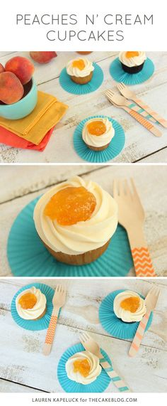 Peaches N' Cream Cupcakes | by Lauren Kapeluck for TheCakeBlog.com