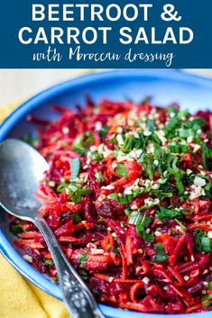 Beetroot & Carrot Salad with Moroccan Dressing is packed full of healthy and delicious ingredients, which you can enjoy as a stand alone meal or serve it to your guests at your next dinner party. It is an impressive dish! New Recipes, Vegetarian Recipes, Cooking Recipes, Healthy Recipes, Vegan Beet Recipes, Recipies, Healthy Salads, Healthy Eating, Clean Eating