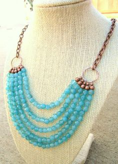 Aquamarine Jade Bib Necklace. Blue Multi Strand by JensBeadBox, $38.00