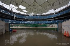The Pontiac Silverdome abandoned and in ruins. Detroit, Michigan.